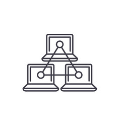 computer working group line icon concept computer vector image