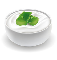 Cosmetic cream with fresh aloe vera vector