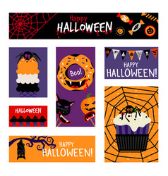 crazy halloween banners set vector image