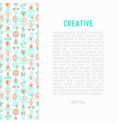 creative concept with thin line icons vector image