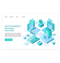 cryptocurrency exchange platform landing page vector image