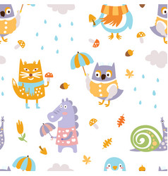 cute animals seamless pattern bright childish vector image
