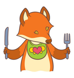 cute cartoon fox holding a knife and fork vector image