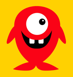 Cute red monster icon happy halloween cartoon vector