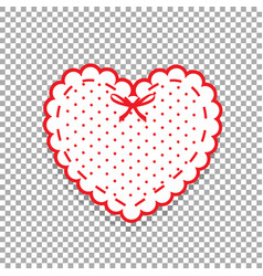 Cute white lacy heart with red polka dots pattern vector