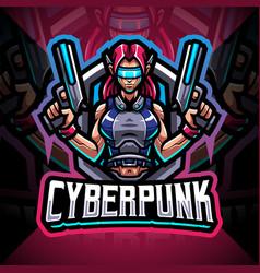 Cyberpunk esport mascot logo design vector