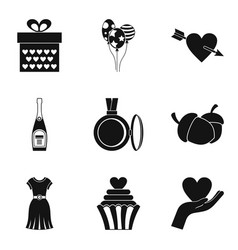Delightful icons set simple style vector