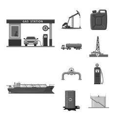 Design of oil and gas symbol collection of vector