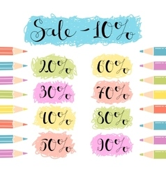 Discounts design for the sale of school stationery vector