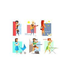 Female charactes set people hobbies professions vector