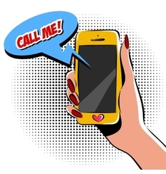 Female hand with phone pop art vector image