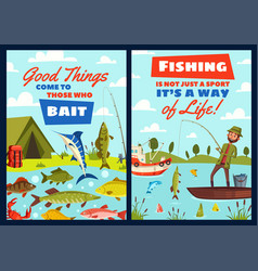 fishing leisure adventure fisher catch lake fish vector image
