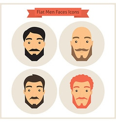 Flat Circle Men with Beard Faces Icons Set vector