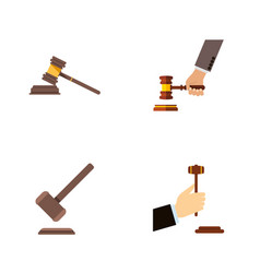 flat icon hammer set of law court tribunal and vector image