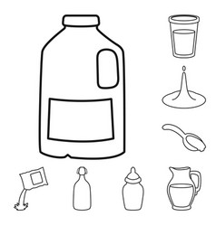 Food and dairy icon set of vector