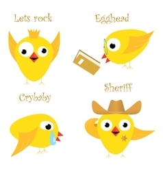 Funny yellow chicken vector image