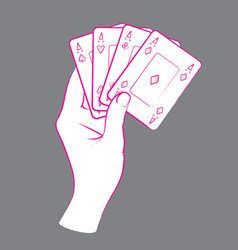 Gesture female hand with poker cards vector