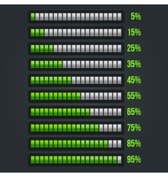 green progress bar set 5-95 vector image