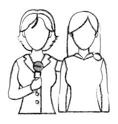Grunge women reporters partner news reportage vector
