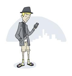 Guy looking phone standing vector