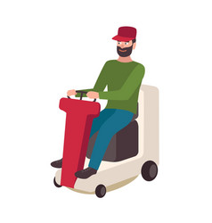 happy bearded man sitting on lawn mower isolated vector image
