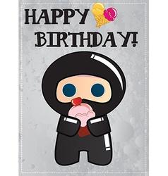 Happy birthday card with cute cartoon ninja vector image