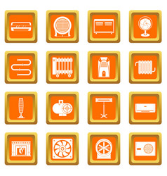 Heating cooling air icons set orange vector