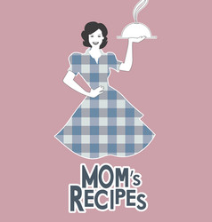 Housewife carrying a tray with dinner moms vector