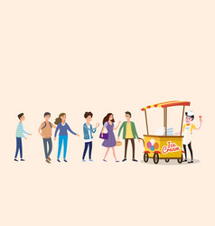 ice cream seller cart with male and female vector image