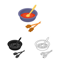 Isolated object dish and sauce sign collection vector