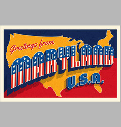 july 4th maryland usa retro travel postcard vector image