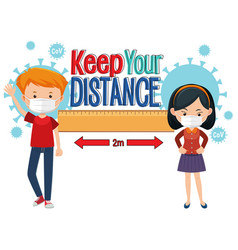 keep your distance banner with cartoon character vector image