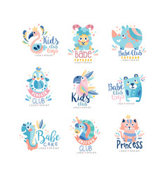 Kids club and babe toyshop logo design set badges vector