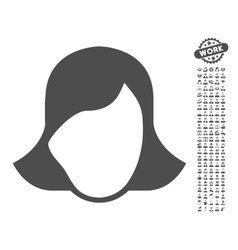 Lady Face Template Icon With Bonus vector