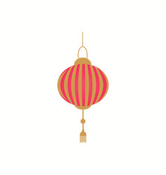 Lantern in red and gold color isolated icon vector