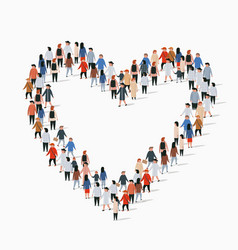Large group people in heart sign shape vector