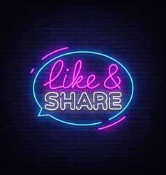 like share neon sign design template vector image