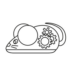 line art black and white mechanical mouse vector image