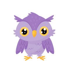 Lovely purple owlet cute bird cartoon character vector