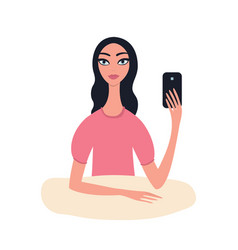 lovely young girl with black wavy hair with phone vector image