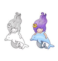 Mermaid with wavy long hair floating with dolphin vector