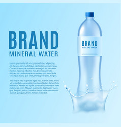 Mineral water branding banner with bottle vector