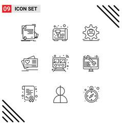 Modern set 9 outlines and symbols vector