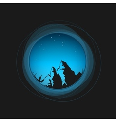 Night sky the stars and the mountains vector