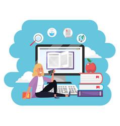 Online education millennial student splash frame vector