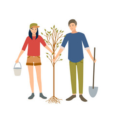 pair of young cheerful male and female volunteers vector image