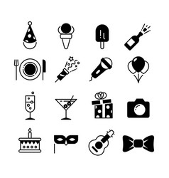 party and wedding event fun icons vector image vector image