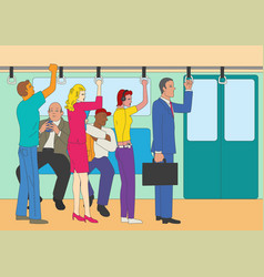 people standing and sitting in the train vector image
