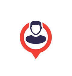 Placement icon man on pin vector