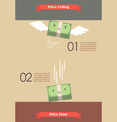 Price ceiling and price floor infographic vector